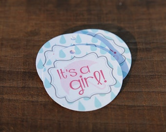 Its A Girl Umbrella Shower Tag, Perfect for Baby Showers, Umbrella, Adorable Favors For Baby Shower, Pink, Blue, Rain