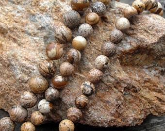 Picture Jasper, Smooth Round Beads, Jade Beads, DIY Jewelry, Semi Precious Stones, 4 6 8 10 12mm, (OB016)