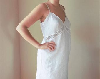 Linen nightgown-Linen nightdress-White flax nightdress-Slip dress-Gift for her-Nightshirt-Linen nightie-Loungewear