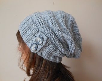 Hand Knit Slouchy Beanie Hat Acrylic Grey Color with Buttons