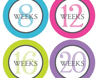 12 Weekly Pregnancy Mama-to-be Maternity Waterproof Glossy Stickers  - Monthly stickers available - Design W005-04