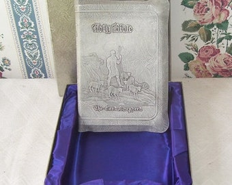 Holy Bible The Good Shepherd Catholic Bible, 1950, Original Box, Purple Satin Lining in Box, The Inspiration of The Holy bible