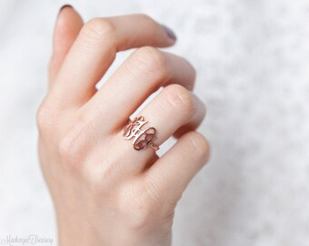 Monogram Ring - Personalized Monogram Ring - Initials Ring - Monogrammed Ring - Bridesmaid Gift - Wedding Gift -