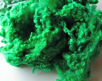 Teeswater dyed locks Emerald Green blythe, doll hair, lock spinning, tail spinning, felt, felting