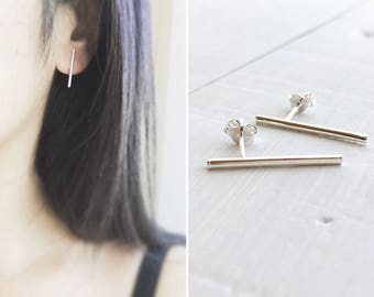 Long Bar Stud Earrings, Bar Studs, Sterling Silver Studs, Bar Post Earrings, Slim Line Studs, Minimal Jewelry, Silver Bar Studs