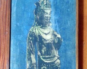 Framed vintage batik print from Taiwan