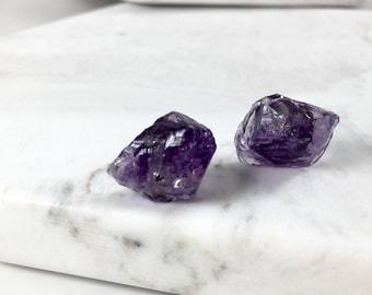 Raw Amethyst Stud Earrings. Raw Cut Crystal Post Earrings. February Birthstone Earrings. Amethyst Purple Earrings. Healing Crystal Earrings