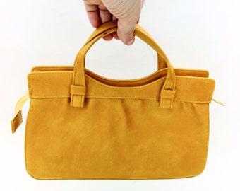 Vintage Lady Purse, Ocre Leatherette Handbag, Woman Bag