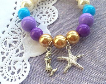 Mermaid charm bracelet, starfish charm bracelet, mermaid birthday, mermaid party favor, mermaid jewelry, starfish bracelet, SET of FIVE.