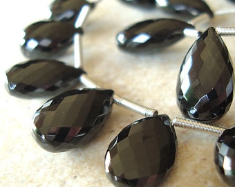 Spinel Beads 20 x 14mm Faceted Lustrous Jet Black Teardrops -  6 Pieces