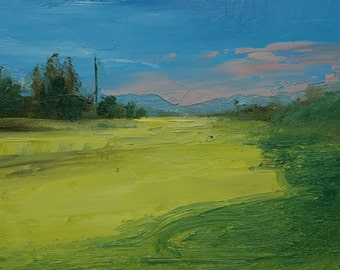 Green Paths. 6X8 Original landscape oil painting, Plein air, Fine art, Tonalism paintings.