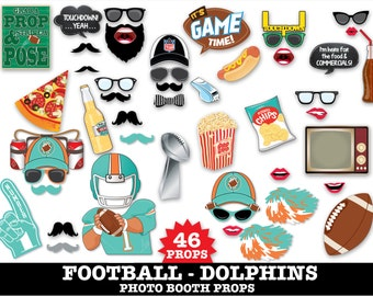 Dolphins Football Photo Booth Props - Bowl Party- Football Party - Instant Download PDF - 46 DIY Printable Props