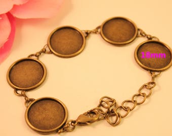 1 x bronze Support bracelet for 18mm glass cabochons