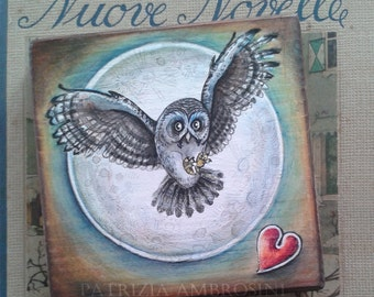 "Art Block handpainted - 4.5x4.5"" - on Wood - Owl with heart  No.2 - ORIGINAL woodpanel Painting collectible - white- owl- love, fine art"