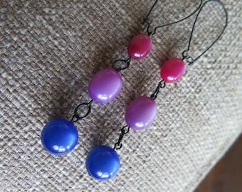 blue and purple earrings, blue and fuchsia earrings, long earrings, modern earrings, urban earrings, lightweight earrings, casual earrings