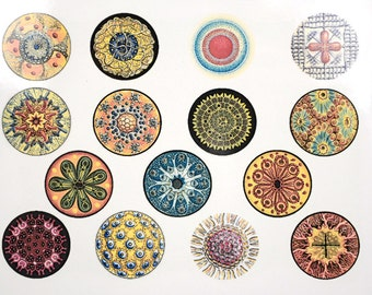 Colorful Circles Ceramic Decals, Glass Fusing Decals, Enamel Decals