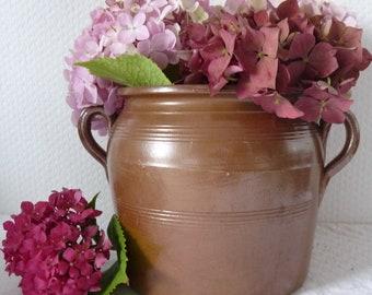 Mid Century French Stoneware Confit Jar, Vintage Glazed Confit Pot, 1950s French Crock, Flower Vase, French Farmhouse, Rustic, Shabby Chic