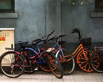 photograph red blue orange red gray cream bicycles Bejing wall decor
