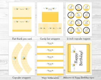 Cute Bumble Bee Birthday Party Package / Bumble Bee Birthday Decorations / Bumble Bee Party / Printable INSTANT DOWNLOAD A214