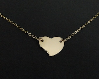 Gold Heart Necklace - 14k Gold Filled - Simple Everyday Jewelry - Minimal necklace - Dainty Necklace