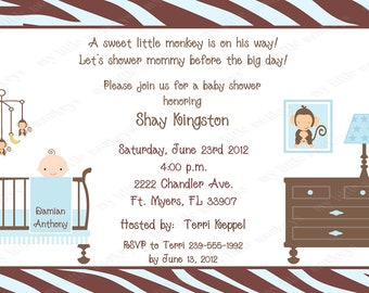 10 Jungle Monkey Baby Shower Invitations with Envelopes.  Free Return Address Labels