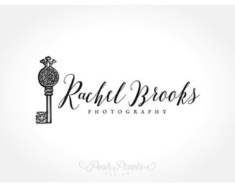 Logo Design (Premade) Skeleton key logo, Photography logo, Business logo, Boutique logo, Key logo, Vintage logo, Hand drawn logo
