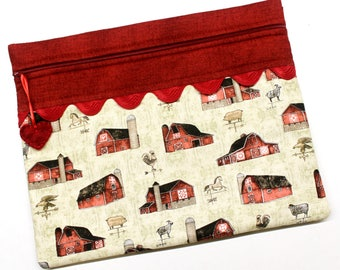 Farmhouse Barns Cross Stitch Embroidery Project Bag