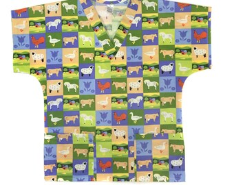 Farm Animal Scrub Tops, Ladies Scrubs, Men's Scrubs, Children's Scrubs/Veterinary Scrubs, Clothing, Tops and Tees-Sheep Scrub-Farm Scrub
