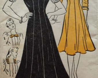 Vintage 40s Princess Seam Gored Flared Skirt Dress Sewing Pattern New York 1331 B40