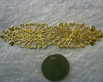 Vintage Brass Filigree with Hearts (3)