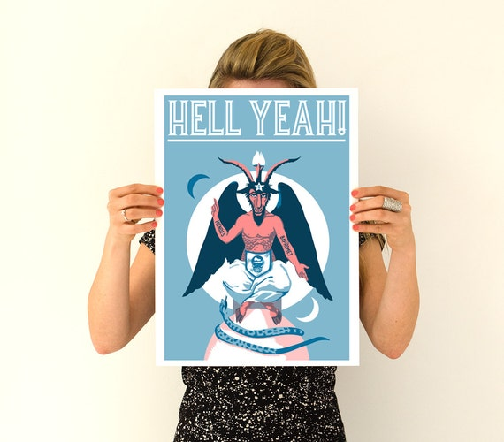 Hell Yeah Baphomet goat Poster, Wall art, Rock and roll poster, Home and Living ,pagan and occult decoration, Boyfriend gift ,TVH171WA3