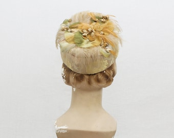 Brocade and Feather Pillbox Hat - 50s Silk Flower Church Hat - Vintage 1950s Earth Tone Ladies Hat