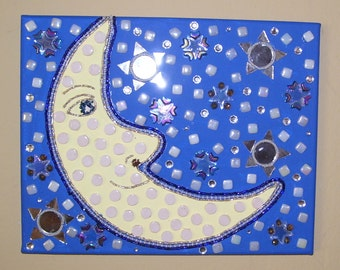 moon face mosaic beaded painting blue and yellow stars mirrors celestial