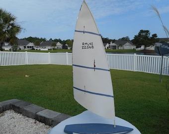 Wood surfboard w/ tin sail / beach decor / nautical decor