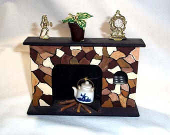 Vintage Handmade Wooden Miniature Fireplace for Doll Collector / Doll House / With Extra Miniature Decorations