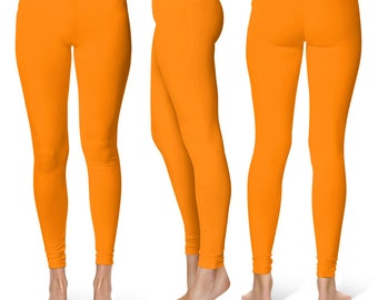 Orange Yoga Pants, Mid Rise Waist Leggings for Women, Yoga Bottoms