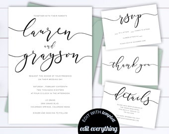 Wedding Invitation Template Etsy - Modern wedding invitation template