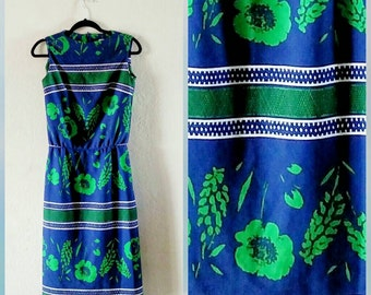 Vintage 1960s | Mad Men Dress | Leslie Fay | Navy | Kelly Green | White | Size Small | Floral Sheath | 43 inch length dress