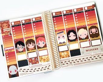 Magical Wizards Planner Stickers Weekly Kit (Gryffindor) - For use with Erin Condren Vertical Lifeplanner