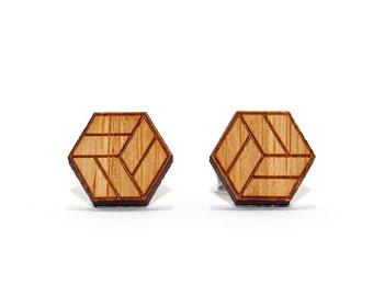 Jenga Box Bamboo Stud Earrings, Etched Bamboo Earrings, Cube Earrings, Wooden Earrings, Bamboo Earrings, Geometric Earrings, Eco Earrings