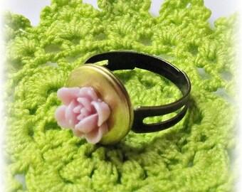 Mini Locket Ring Mauve Purple Lilac Secret Keeper. Rose Flower Pink Jewellery. Miniature Jewelry dspdavey Adjustable. Vintage Monogram