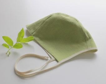 Baby toddler linen bonnet double sided green off white