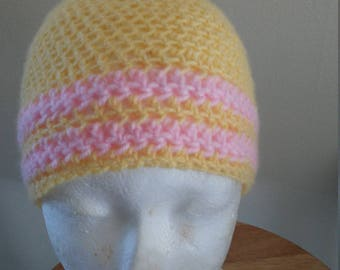 yellow and pink stripe hat
