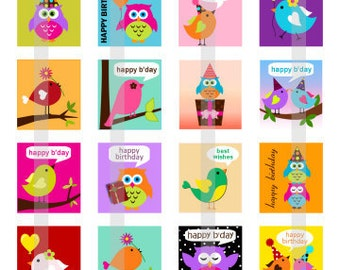 Happy Birthday bird and owl - one 4x6 inch digital sheet of scrabble size (0.75 x 0.83 inches) images for scrabble tiles