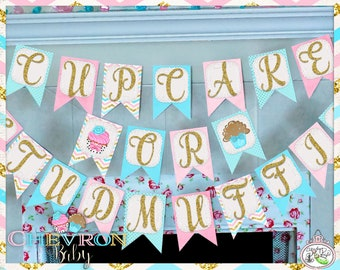 Chevron Baby-Cupcake or Stud Muffin Banner-Party Printables-Plain & Theme-Gender Reveal-Baby Shower-DIY-Instant Download-Digital Decorations