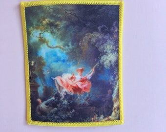 Jenni's Prints The Swing, L'Escarpolette, painted by Jean-Honoré Fragonard Art History iron-on patch Rococo