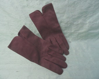 Brown cotton wrist length gloves / vintage short brown gloves / size 6