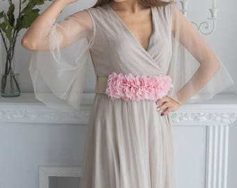 Nude Pink Bridal Robe from my Paris Inspirations Collection - Intricate Details in Nude