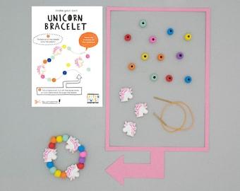 Make Your Own Unicorn Bracelet Kits - Party Bag Filler, Party Favor, Craft, DIY, Unicorn Birthday, Unicorn Party, Rainbow, Wooden Toy