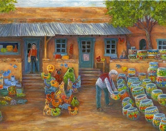 Tubec Pottery Shop, Greeting Cards, Tubec, Arizona, Tucson, Landscape, house, Pottery Mexican, Telavero